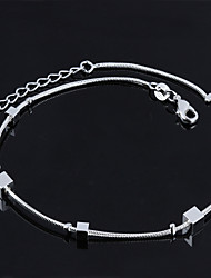 Women's Fashion Platinum Plated Contracted Square Anklets