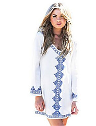 Women's Casual/Daily Simple Sheath Dress,Print Round Neck Above Knee Long Sleeve White Polyester Summer