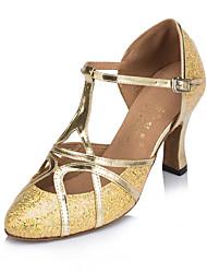 Customizable Women's Dance Shoes Latin / Tap / Modern / Samba Leatherette Stiletto Heel Black