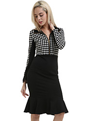 Women's Ruffle Vintage/Sexy/Party/Work Long Sleeve Knee-length Dress (Cotton Blends)