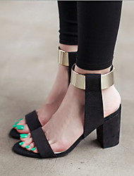 Women's Shoes Synthetic / Fleece Chunky Heel Heels Sandals / Heels Party & Evening / Dress / Casual Black