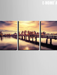 E-HOME® Stretched Canvas Art Small Bridge Over The Lake Decoration Painting  Set of 3