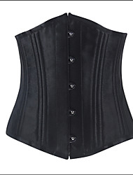 Shaperdiva Women's Underwear 22 Steel Boned Black Slim Satin Corsets and Bustiers