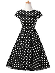 50s Era Vintage Style Cap Sleeves Rockabilly Dress Cosplay Costume Black White Polka Dot (with Petticoat)