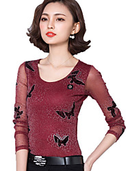 Spring Women's Slim Round Neck Long Sleeve Butterfly Printing Silver Wire Sexy T Shirt OL Work Casual Holiday Blouse