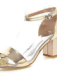Women's Shoes Patent Leather Chunky Heel Open Toe Sandals Dress Pink / Red / Silver / Gold