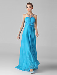 Formal Evening Dress-Ocean Blue Ball Gown Halter Sweep/Brush Train Chiffon / Tulle