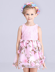 Girl's Pink / White Dress,Floral Polyester Summer