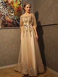 A-line Wedding Dress-Gold Court Train Scoop Tulle / Sequined