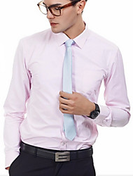 High Quality Men's Long Sleeve Tabby Dress Shirts,Cotton / Polyester Work / Formal Solid Office Business Shirt