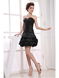 Cocktail Party Dress-Black A-line Strapless Short/Mini Taffeta