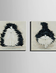 Mini Size E-HOME Oil painting Modern Black Cat Pure Hand Draw Frameless Decorative Painting