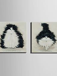 mini-pintura a óleo tamanho e-casa moderna gato preto puro mão desenhar pintura decorativa frameless