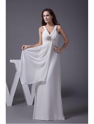 Formal Evening Dress-Ivory Sheath/Column V-neck Floor-length Chiffon
