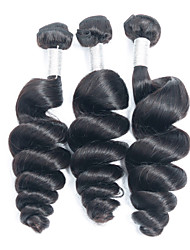 3Pcs/Lot 150g 8-26inch Brazilian Virgin Hair Loose Wave Black Color Unprocessed Human Hair Weaves Wholesales.