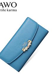 NAWO Women Cowhide Checkbook Wallet Blue-N354001