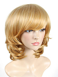 Women's Exquisite Medium Length Curly Blonde Color Synthetic Wig