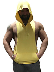 Men's Bodybuilding Fitness Sleeveless Hooded Tank Tops Polyester Casual / Sport Solid Vest