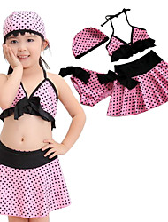 Cute Toddler Girls Summer Swimming Bra+Underwear+Skirt+Cap(4pcs/Set) Bikini with Pink Dots Print for Age 4~10Years