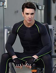 Carrera Tops Hombres Mangas largas Transpirable / Secado rápido Espándex / Poliéster Fitness Deportes Ropa deportiva Eslático Apretado