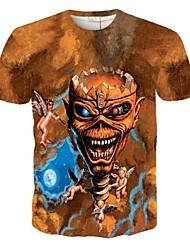 Print-Informeel / Sport-Heren-Polyester-T-shirt-Korte mouw Beige