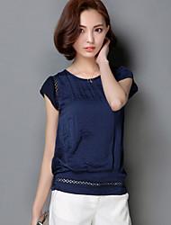 Damen Solide Sexy Lässig/Alltäglich T-shirt,Rundhalsausschnitt Frühling Kurzarm Blau / Rot / Weiß / Grün / Orange Nylon Mittel