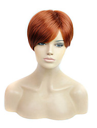 Short Length Straight Hair European Weave Brown Color Hair Synthetic Wig