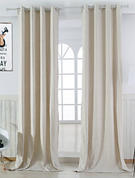 Two Panels Designer Solid Beige Bedroom Linen / Cotton Blend Panel Curtains Drapes