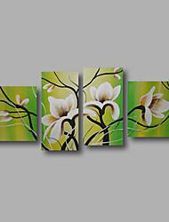 Pintados à mão Abstrato / Floral/BotânicoModerno 4 Painéis Tela Pintura a Óleo For Decoração para casa