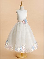 Lanting Bride ® A-line Ankle-length Flower Girl Dress - Organza / Satin Sleeveless Jewel with Flower(s)