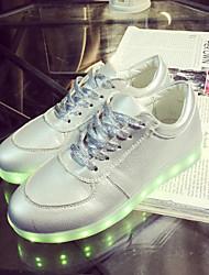 Feminino MasculinoLight Up Shoes-Rasteiro-Prateado-Courino-Ar-Livre Casual Para Esporte
