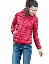 Women's Solid Red / Green Padded Coat,Simple Hooded Long Sleeve