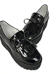Punk Cuero Patentado / Cuero 6 Tacón Cuña Negro Zapatos de Lolita