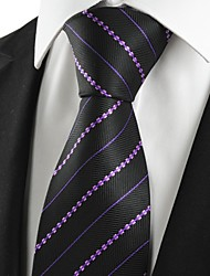 KissTies Men's Purple Striped Black Microfiber Tie Necktie For Wedding Party Holiday Prom With Gift Box