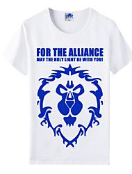 мир варкрафт вау племенной союз белый хлопок лайкра короткий рукав косплей футболки