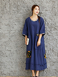 Women's Vintage Tunic Dress,Floral Round Neck Maxi Long Sleeve Blue / Yellow Cotton / Linen Spring