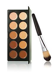 novo 10 cores paleta de creme para o rosto contorno maquiagem corretivo + escova do pó