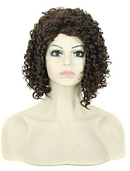 "14"" Synthetic Short Medium Brown Curly Wig Heat Resistant African American Short Kinky Curly Wig"