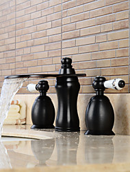 Contemporary Widespread Waterfall / Widespread with  Ceramic Valve Two Handles Three Holes for  Oil-rubbed Bronze , Bathroom Sink Faucet