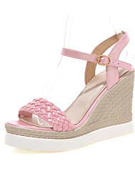 Women's Shoes Leatherette Summer Wedges Casual Wedge Heel Braided Strap Pink / Purple / White / Gold