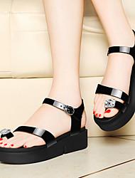 Zapatos de mujer-Plataforma-Plataforma-Sandalias-Oficina y Trabajo / Vestido / Casual-Semicuero-Negro / Plata