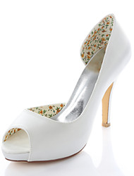 Women's Spring / Summer Heels / Peep Toe Stretch Satin Wedding / Dress / Party & Evening Stiletto Heel Ivory