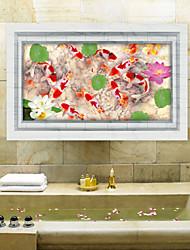 Pond Fish 3D Ground Stick Animals / 3D Wall Stickers 3D Wall Stickers,PVC 60*90cm