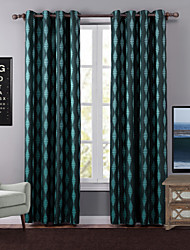 One Panel Modern Geometic Green Bedroom Polyester Blackout Curtains Drapes