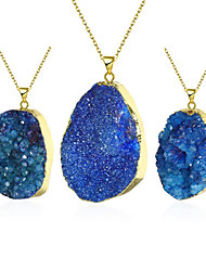 Women's Pendant Necklaces Crystal Crystal Gem 18K gold Blue Jewelry Party 1pc