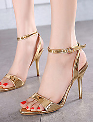 Women's Shoes Patent Leather Stiletto Heel Open Toe Sandals Dress / Casual Silver / Gold