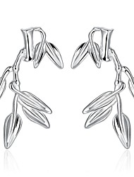 lureme®Fashion Style Silver Plated Bamboo Leaves Shaped Stud Earrings