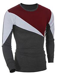 Herren T-shirt-Einfarbig Freizeit / Sport Baumwolle Lang-Rot / Grau