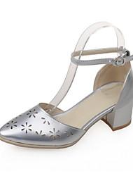 Zapatos de mujer-Tacón Robusto-Tacones-Sandalias-Casual-Semicuero-Rosa / Blanco / Plata