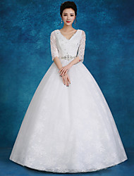 Ball Gown Wedding Dress Floor-length V-neck Lace / Satin / Tulle with Beading / Pearl / Sequin